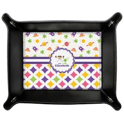 Girl's Space & Geometric Print Genuine Leather Valet Tray (Personalized)