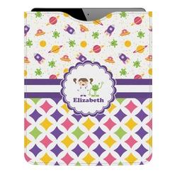 Girl's Space & Geometric Print Genuine Leather iPad Sleeve (Personalized)