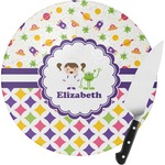 Girl's Space & Geometric Print Round Glass Cutting Board (Personalized)