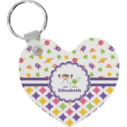 Girl's Space & Geometric Print Heart Keychain (Personalized)