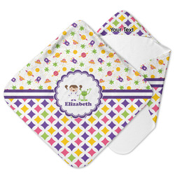 Girl's Space & Geometric Print Hooded Baby Towel (Personalized)