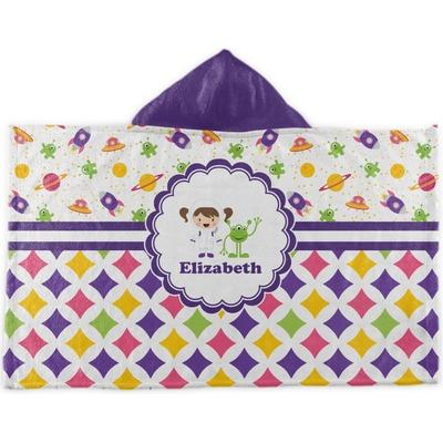 Girl's Space & Geometric Print Kids Hooded Towel (Personalized)