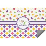 Girl's Space & Geometric Print Indoor / Outdoor Rug (Personalized)