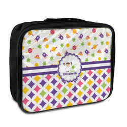 Girl's Space & Geometric Print Insulated Lunch Bag (Personalized)