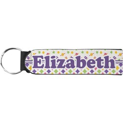Girl's Space & Geometric Print Neoprene Keychain Fob (Personalized)