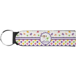 Girl's Space & Geometric Print Keychain Fob (Personalized)