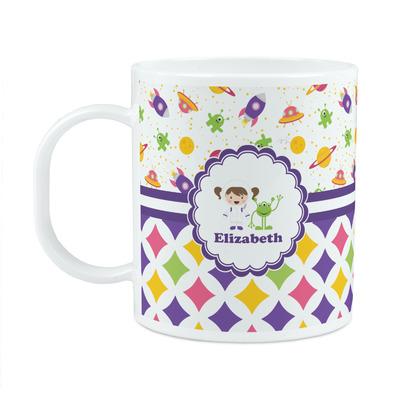 Girl's Space & Geometric Print Plastic Kids Mug (Personalized)