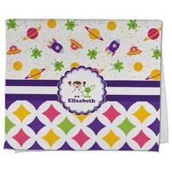 Girl's Space & Geometric Print Kitchen Towel - Full Print (Personalized)