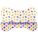 Girl's Space & Geometric Print Bone Shaped Dog Food Mat (Personalized)