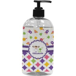 Girl's Space & Geometric Print Plastic Soap / Lotion Dispenser (Personalized)
