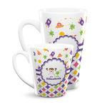 Girl's Space & Geometric Print Latte Mug (Personalized)