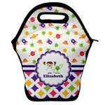 Girl's Space & Geometric Print Lunch Bag w/ Name or Text