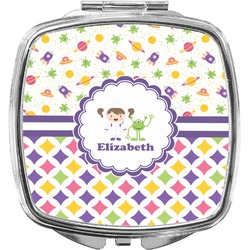 Girl's Space & Geometric Print Compact Makeup Mirror (Personalized)