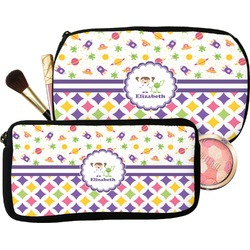Girl's Space & Geometric Print Makeup / Cosmetic Bag (Personalized)