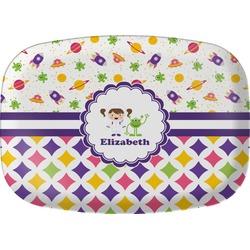 Girl's Space & Geometric Print Melamine Platter (Personalized)
