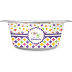 Girl's Space & Geometric Print Stainless Steel Dog Bowl (Personalized)