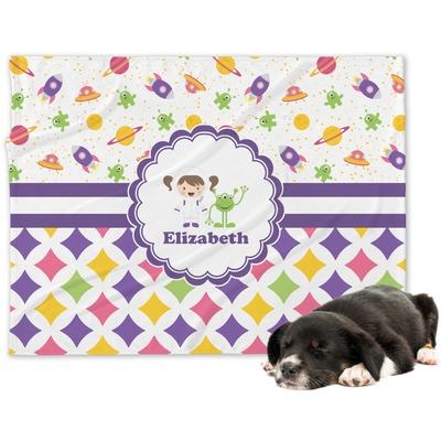 Girl's Space & Geometric Print Dog Blanket (Personalized)