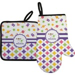 Girl's Space & Geometric Print Oven Mitt & Pot Holder (Personalized)