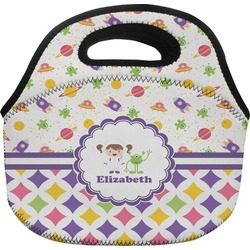 Girl's Space & Geometric Print Lunch Bag (Personalized)