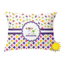 Girl's Space & Geometric Print Outdoor Throw Pillow (Rectangular) (Personalized)