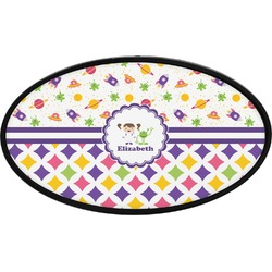 Girl's Space & Geometric Print Oval Trailer Hitch Cover (Personalized)