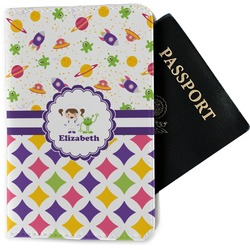 Girl's Space & Geometric Print Passport Holder - Fabric (Personalized)