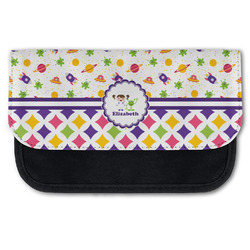 Girl's Space & Geometric Print Canvas Pencil Case w/ Name or Text