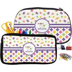 Girl's Space & Geometric Print Pencil / School Supplies Bag (Personalized)