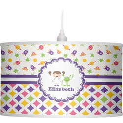 Girl's Space & Geometric Print Drum Pendant Lamp (Personalized)