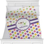 Girl's Space & Geometric Print Minky Blanket (Personalized)