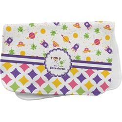 Girl's Space & Geometric Print Burp Cloth (Personalized)