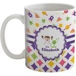 Girl's Space & Geometric Print Coffee Mug (Personalized)