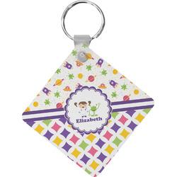 Girl's Space & Geometric Print Diamond Key Chain (Personalized)