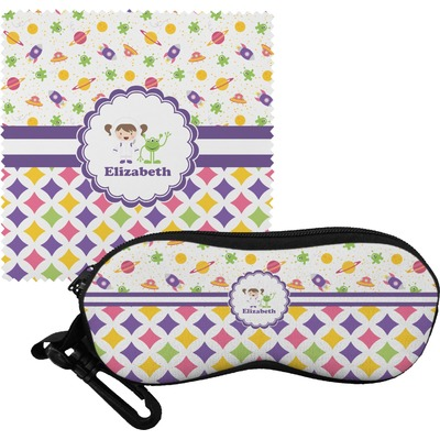 Girl's Space & Geometric Print Eyeglass Case & Cloth (Personalized)