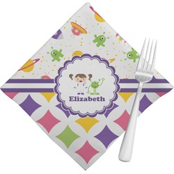Girl's Space & Geometric Print Napkins (Set of 4) (Personalized)