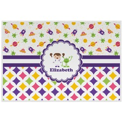 Girl's Space & Geometric Print Placemat (Laminated) (Personalized)