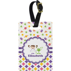 Girl's Space & Geometric Print Rectangular Luggage Tag (Personalized)