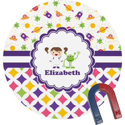 Girl's Space & Geometric Print Round Magnet (Personalized)