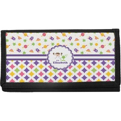 Girl's Space & Geometric Print Canvas Checkbook Cover (Personalized)