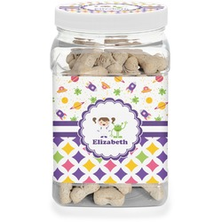 Girl's Space & Geometric Print Pet Treat Jar (Personalized)