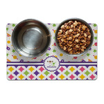 Girl's Space & Geometric Print Dog Food Mat (Personalized)