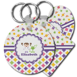 Girl's Space & Geometric Print Plastic Keychains (Personalized)
