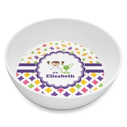 Girl's Space & Geometric Print Melamine Bowl 8oz (Personalized)