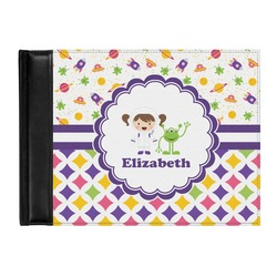 Girl's Space & Geometric Print Genuine Leather Guest Book (Personalized)