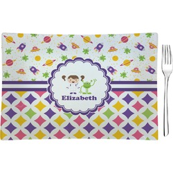 Girl's Space & Geometric Print Rectangular Glass Appetizer / Dessert Plate - Single or Set (Personalized)