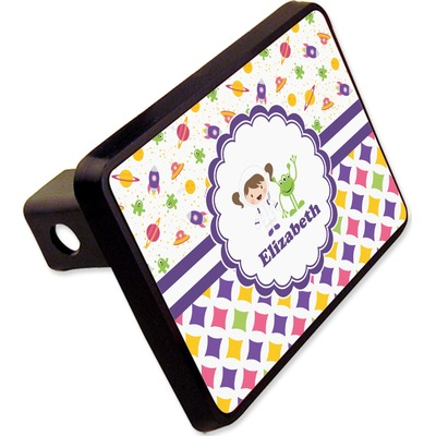 """Girl's Space & Geometric Print Rectangular Trailer Hitch Cover - 2"""" (Personalized)"""