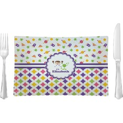 Girl's Space & Geometric Print Glass Rectangular Lunch / Dinner Plate - Single or Set (Personalized)