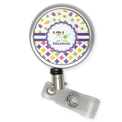 Girl's Space & Geometric Print Retractable Badge Reel (Personalized)