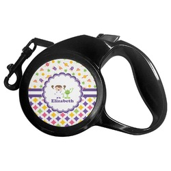 Girl's Space & Geometric Print Retractable Dog Leash - Multiple Sizes (Personalized)