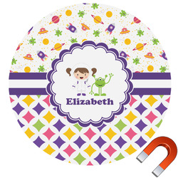 Girl's Space & Geometric Print Round Car Magnet (Personalized)